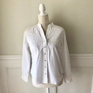 COLUMBIA Snap Front White Long Sleeve Blouse Top